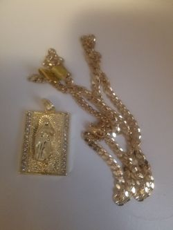 Necklace Men's gold-plated hip hop iced Brock Virgin Mary pendant Thumbnail