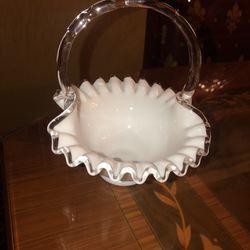 Vintage white milk glass 7 X 7 across basket with clear handle/trim ruffles Thumbnail