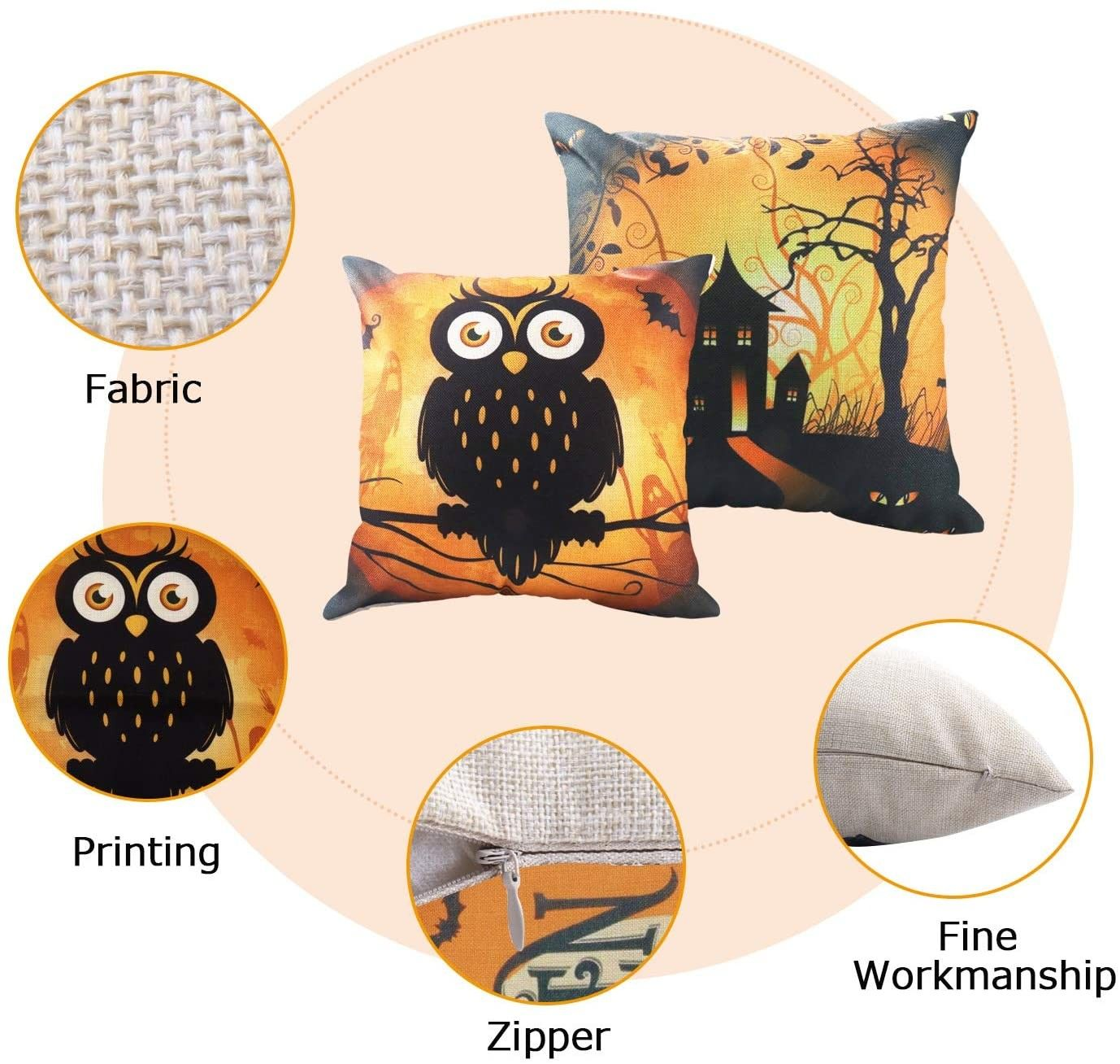 Brand New Halloween Throw Pillow Covers 18 x 18 Inch Owl/Bat/Witch/Castle Theme Sofa Home Decorative Cushion Pillow Case Bedroom Living Dining Seat