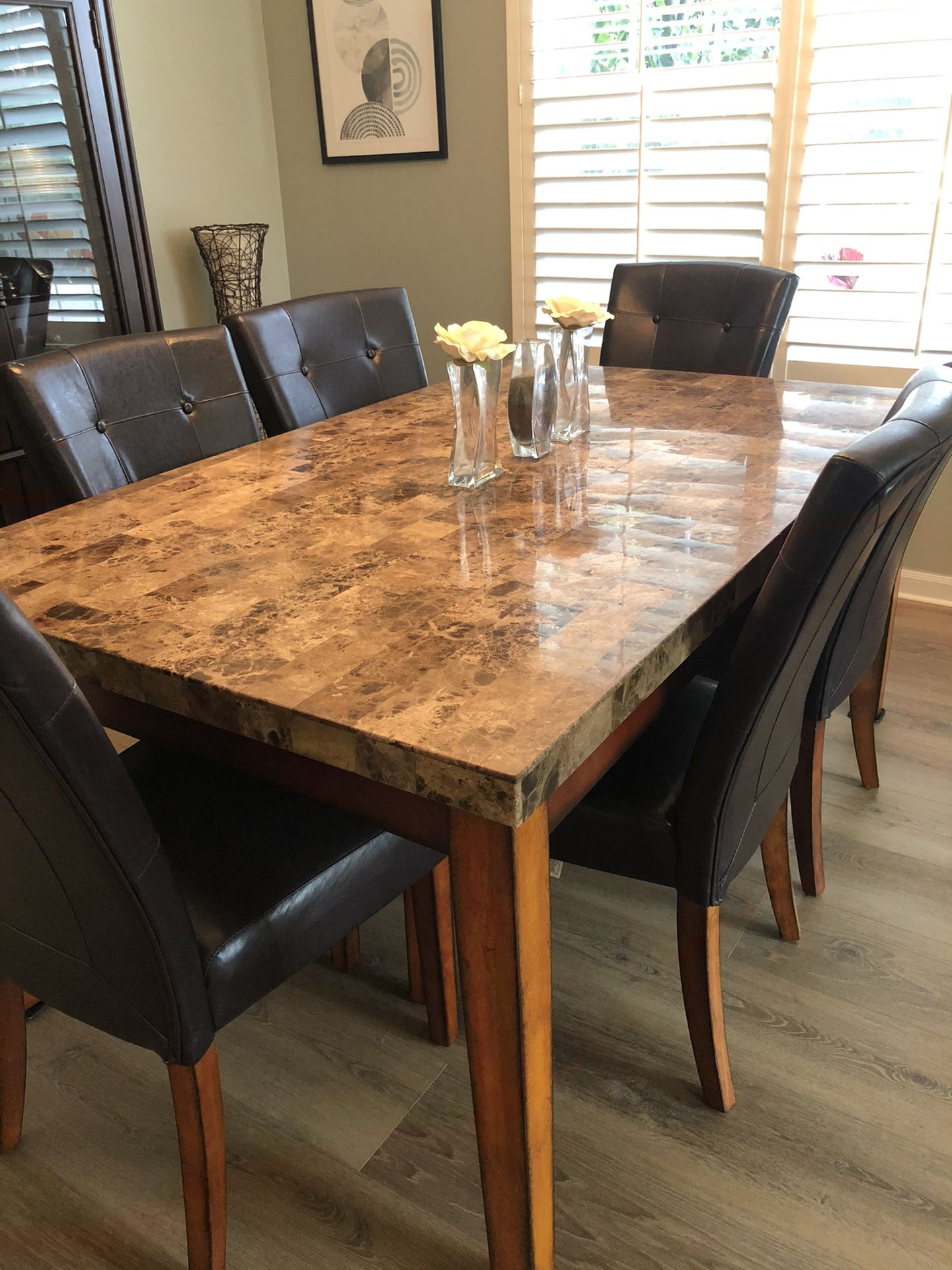 Granite Dining Room Table w/6 Chairs