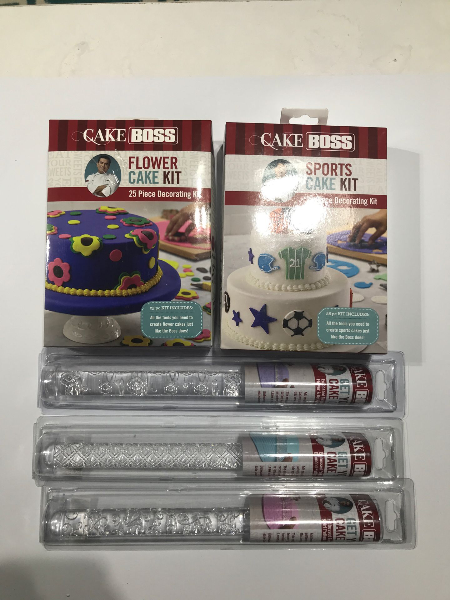 Cake boss cake decorating tools and fondant embossing rolling pins