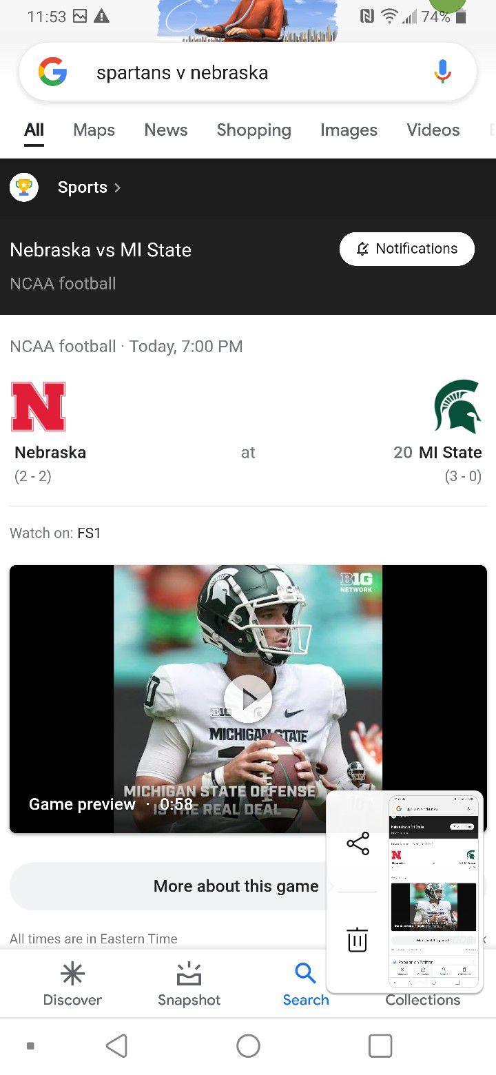 2-4 Spartan Football Tix Tonights Game V Nebraska 7pm