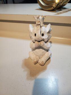 White Wood Elephant Baby Cute Figurine Thumbnail