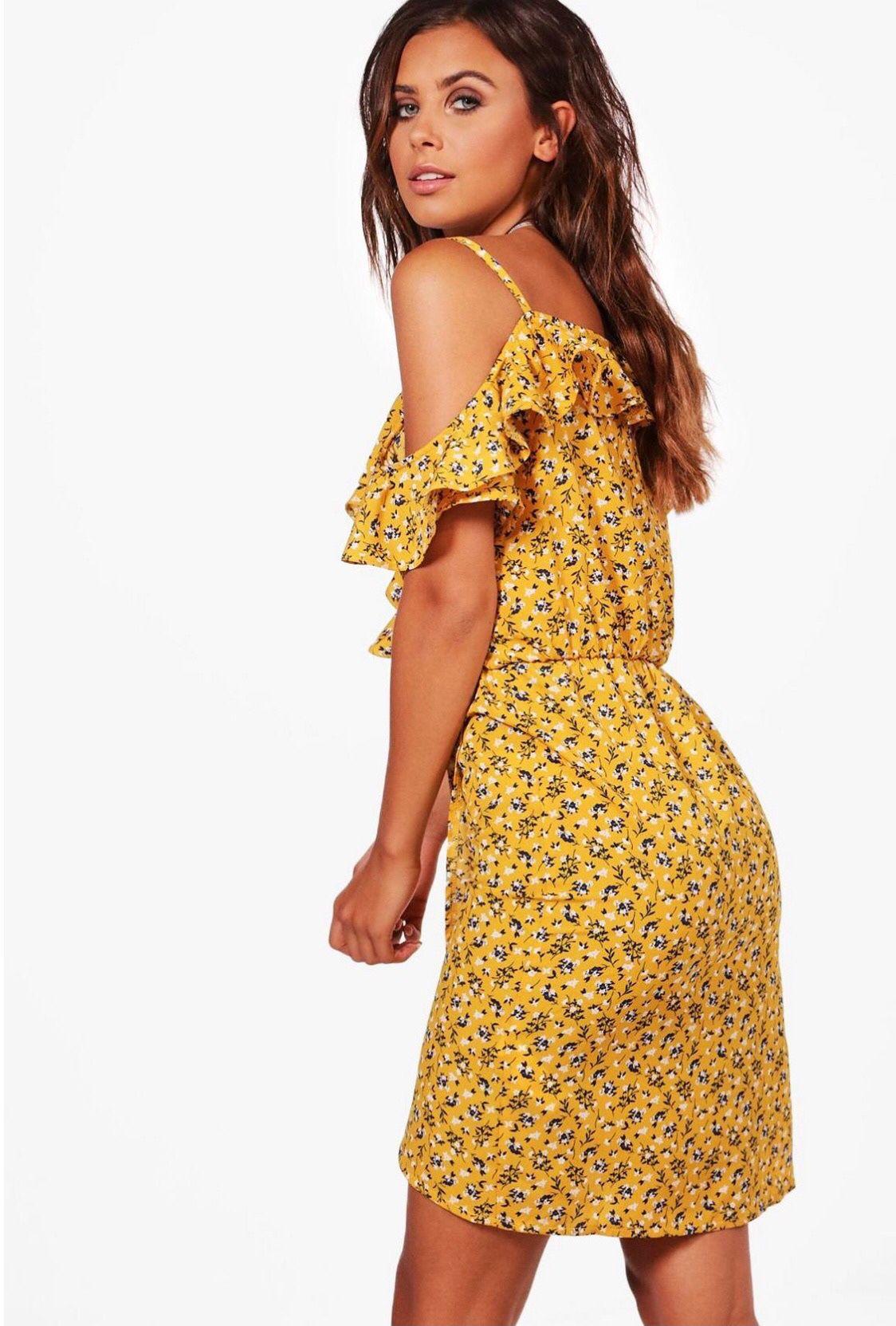 Floral Frilly Frilled Wrap Spring & Summer Pretty Cold Shoulder Mini Dress