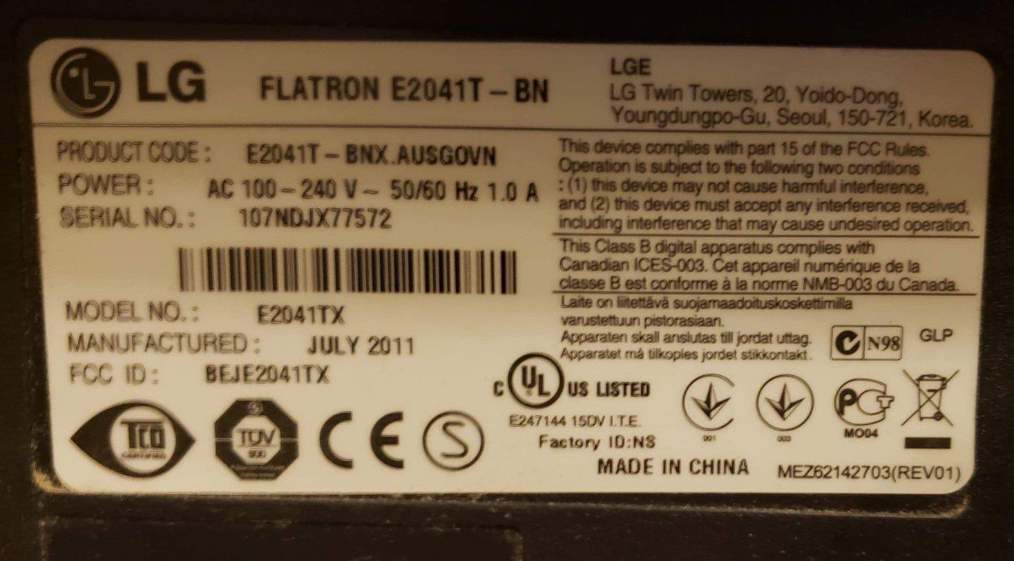 LG monitor FlatronEt2041T
