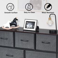 Costway 5 Drawer Dresser Storage Unit Side Table Display Organizer Dorm Room Fabric Grey Thumbnail