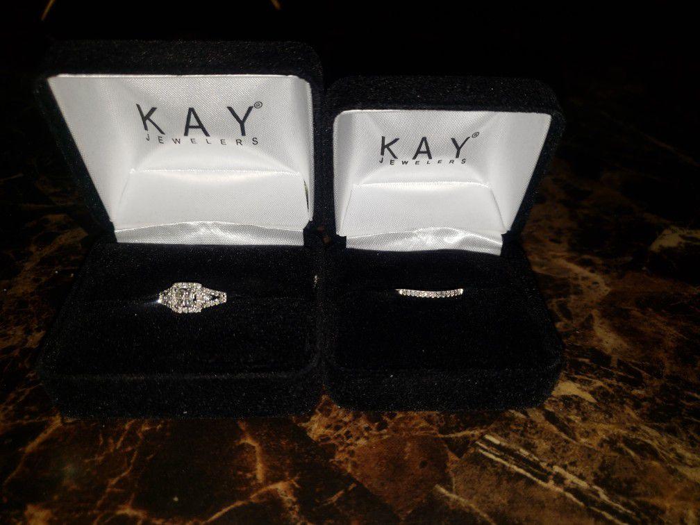 Wedding Set Kay Jewlers (with life time warrenty On Diamonds)