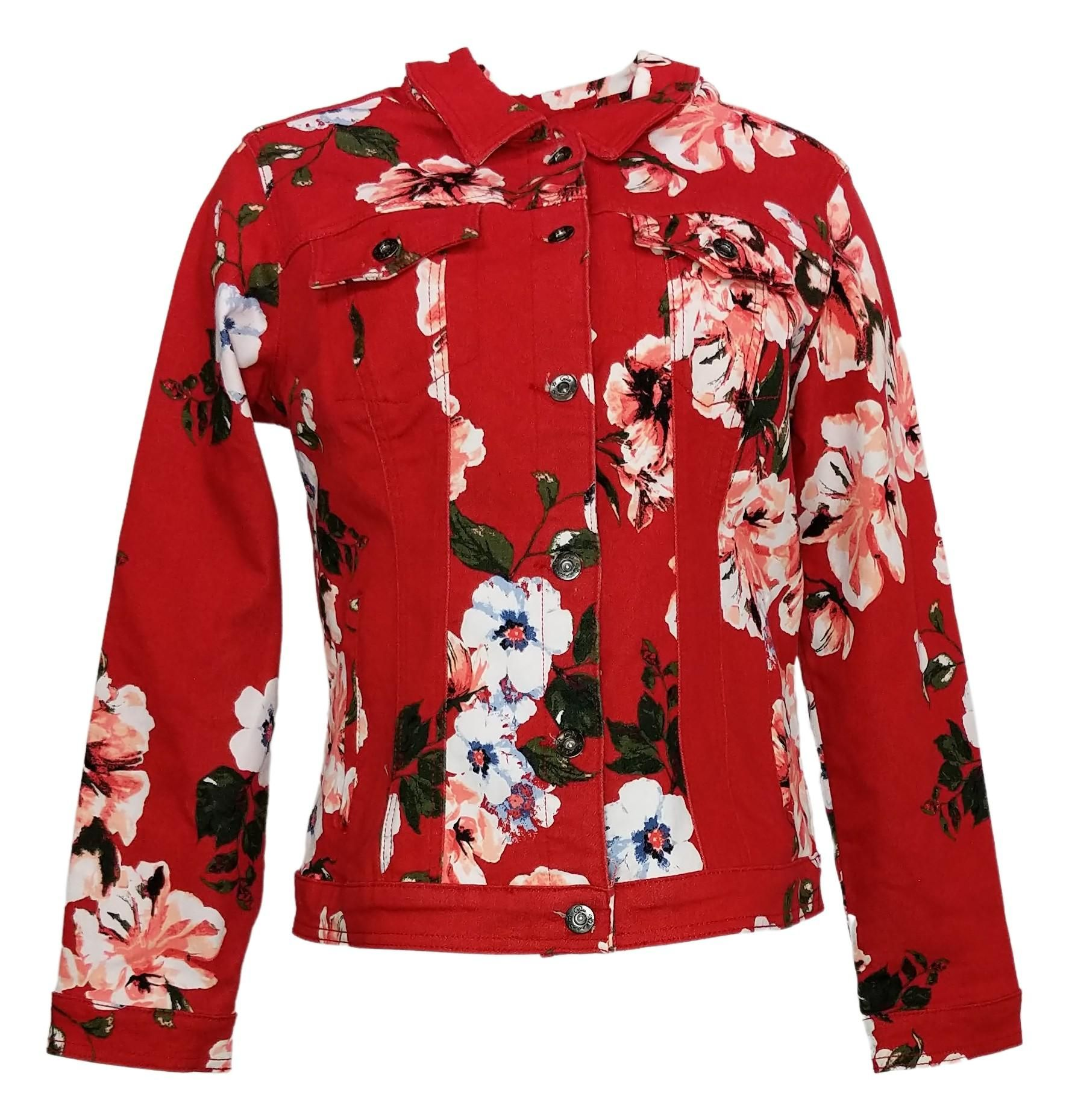 DG2 by Diane Gilman Women's Sz M Floral Print Denim Jacket Red 646504