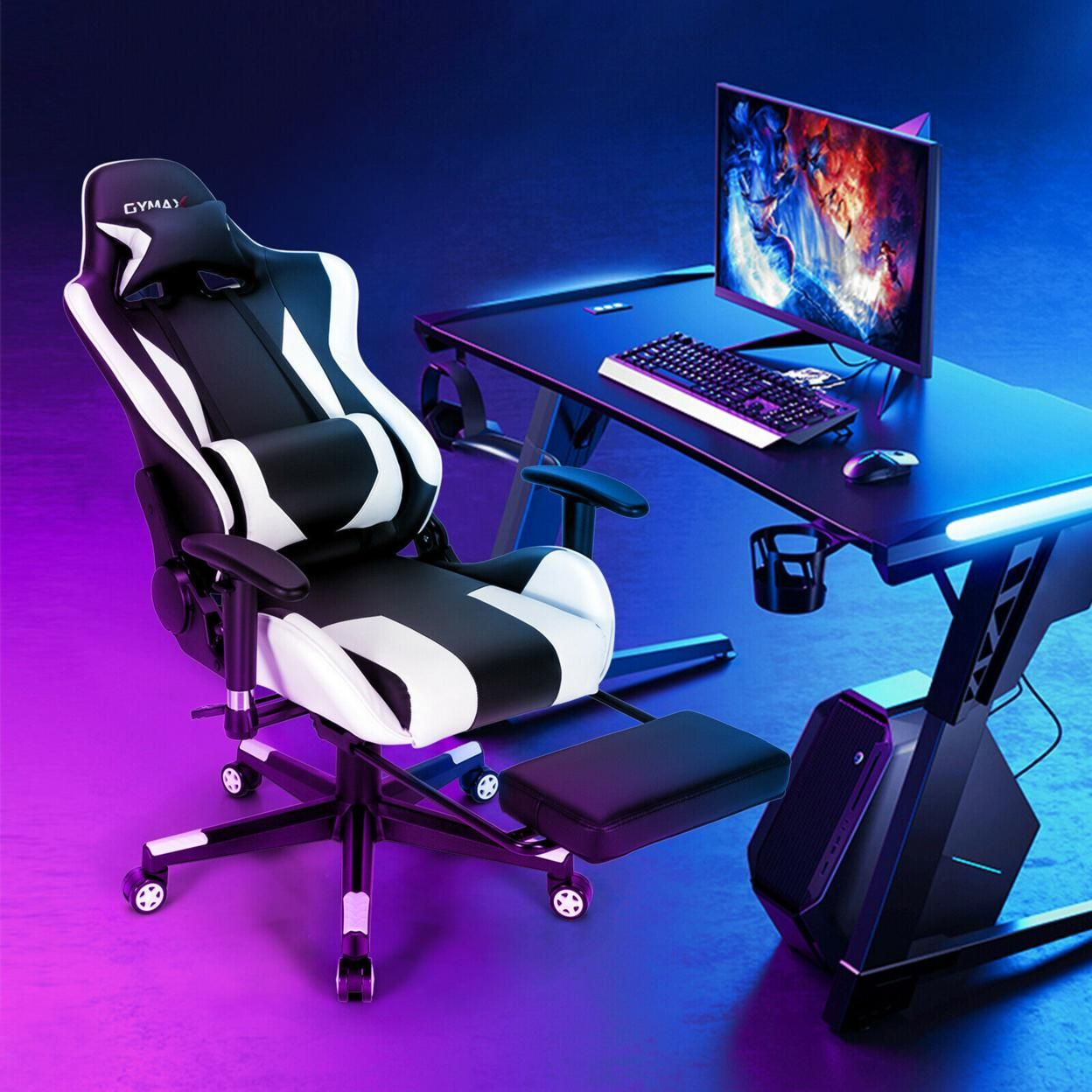 Gymax Massage Gaming Chair Adjustable Swivel Computer Office Chair w/ Footrest