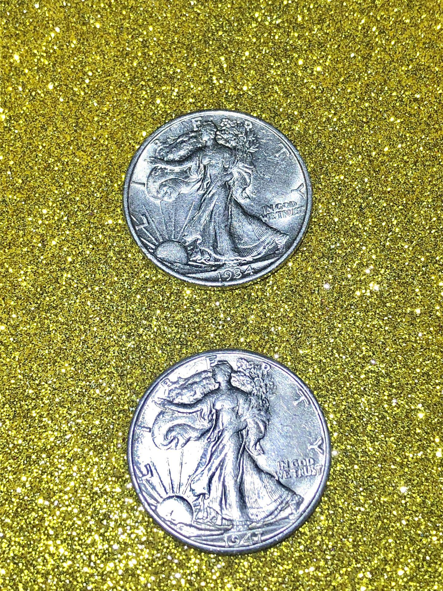  1934 and 1947 Walking Liberty Silver Half Dollar 