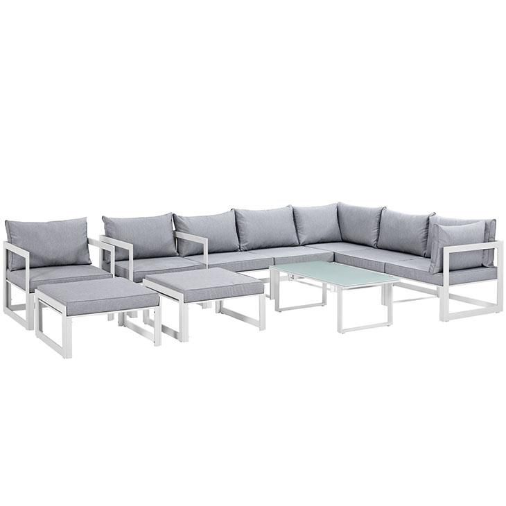 Fortuna 10 Piece Outdoor Patio Sectional Sofa Set, White Gray