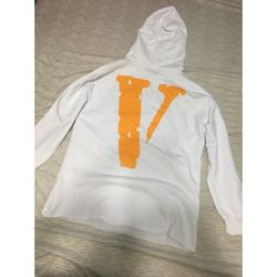 Vlone White And Yellow Logo Hoodie L  Thumbnail