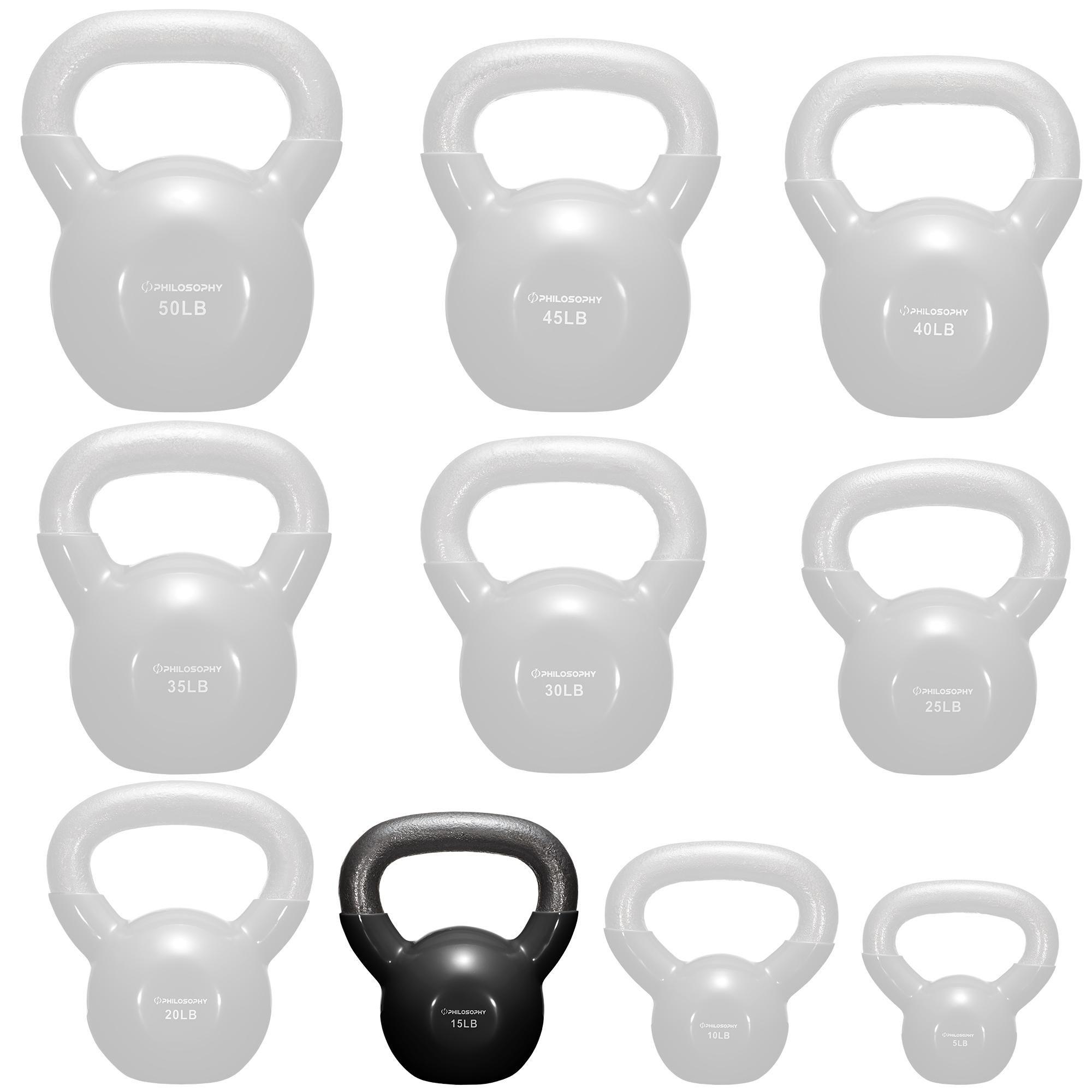 Philosophy Gym Vinyl Coated Cast Iron Kettlebell Weight 15 lbs - Black