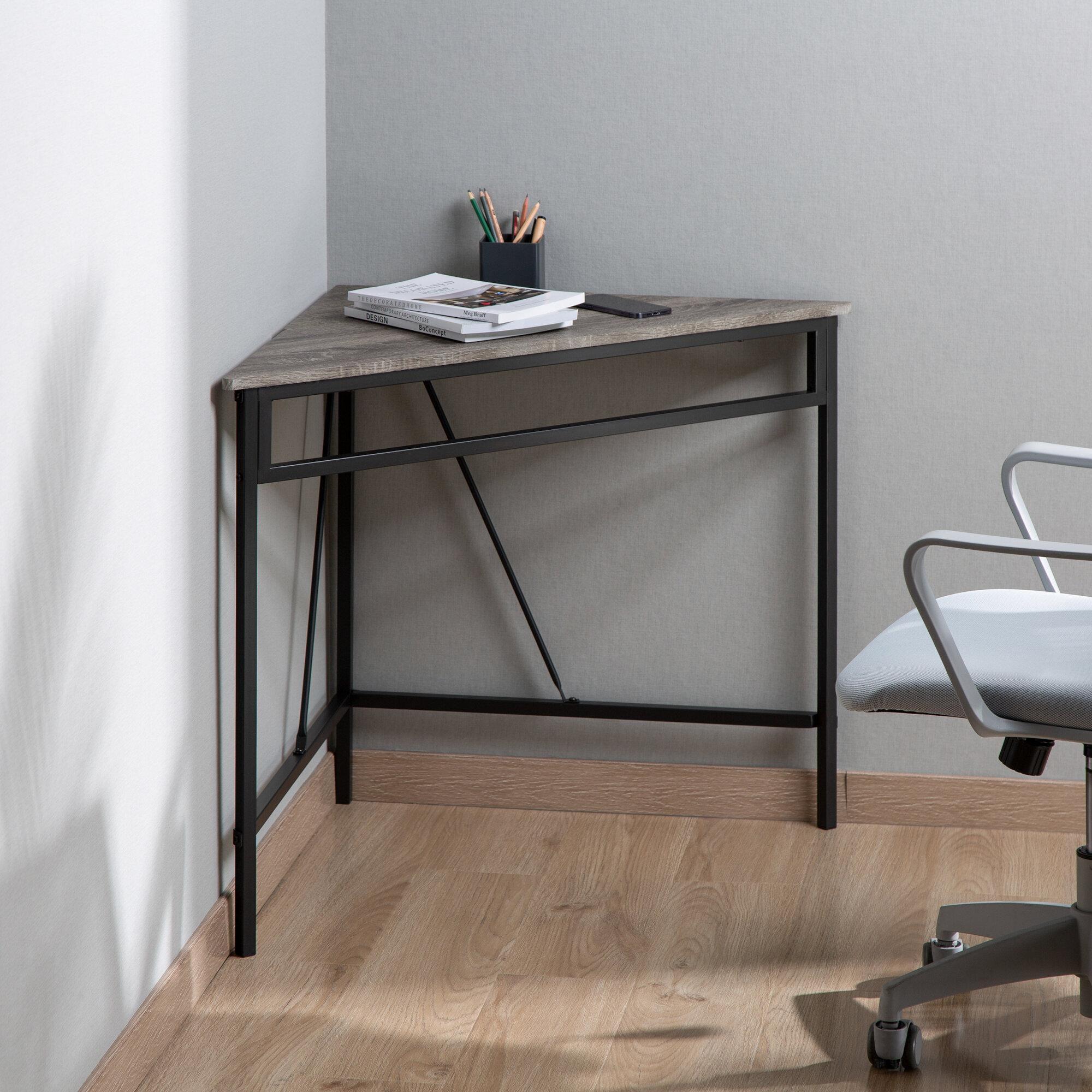Zenvida Corner Desk, Triangle Computer Desk, Home Office Workstation for Small Space