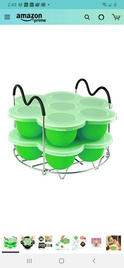 PRAMOO Silicone Egg Bites Molds and Steamer Rack Trivet with Handles for Instant Pot Accessories, 3pcs/set for 6qt & 8qt Electric Pressure Cooker Thumbnail