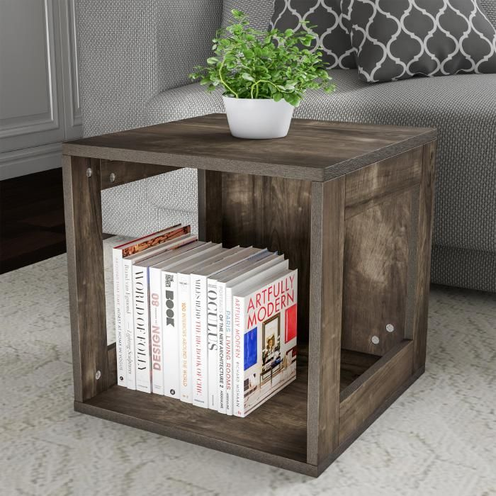 Open End Table Stackable Contemporary Minimalist Modular Cube Accent Table with Open Sides