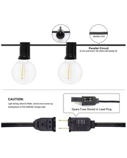 String Lights 25FT with 27 Edison Bulbs with 2 Spare - Outdoor Patio Lights String Led Waterproof UL Listed Thumbnail