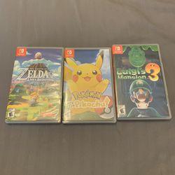 Switch Games - Lets Go Pikachu - Links Awakening - Luigis Mansion 3 Thumbnail