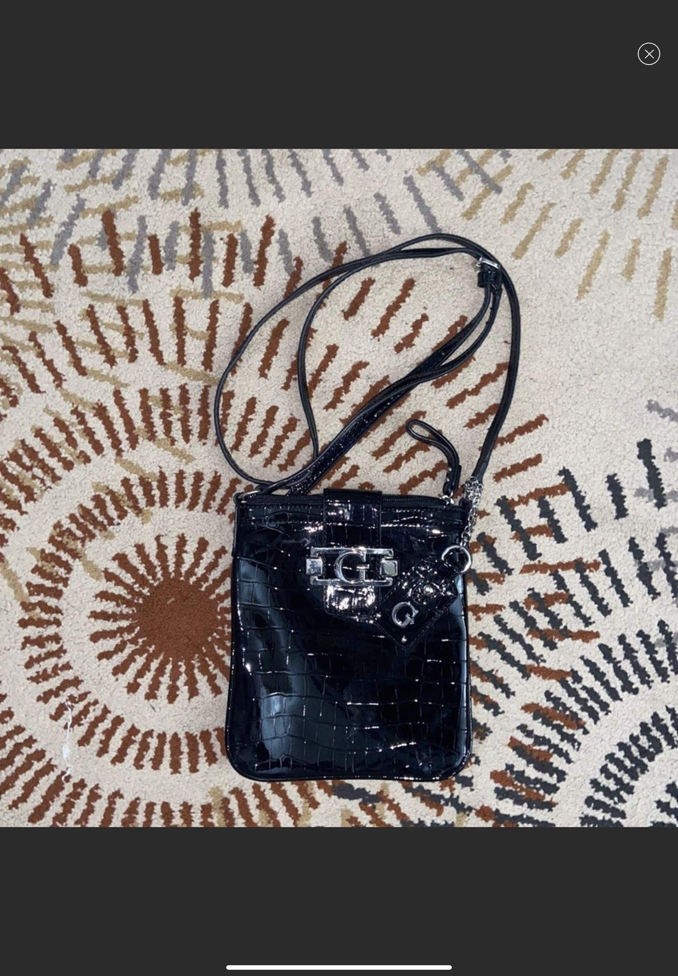 Guess croc patent leather crossbody bag