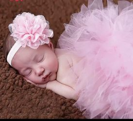 Size 0-3 month Baby Tutu Skirt With Matching Flower Headband Baby Photography Props Bow Girl Tulle Tutu Skirt And Hair Accessories Thumbnail