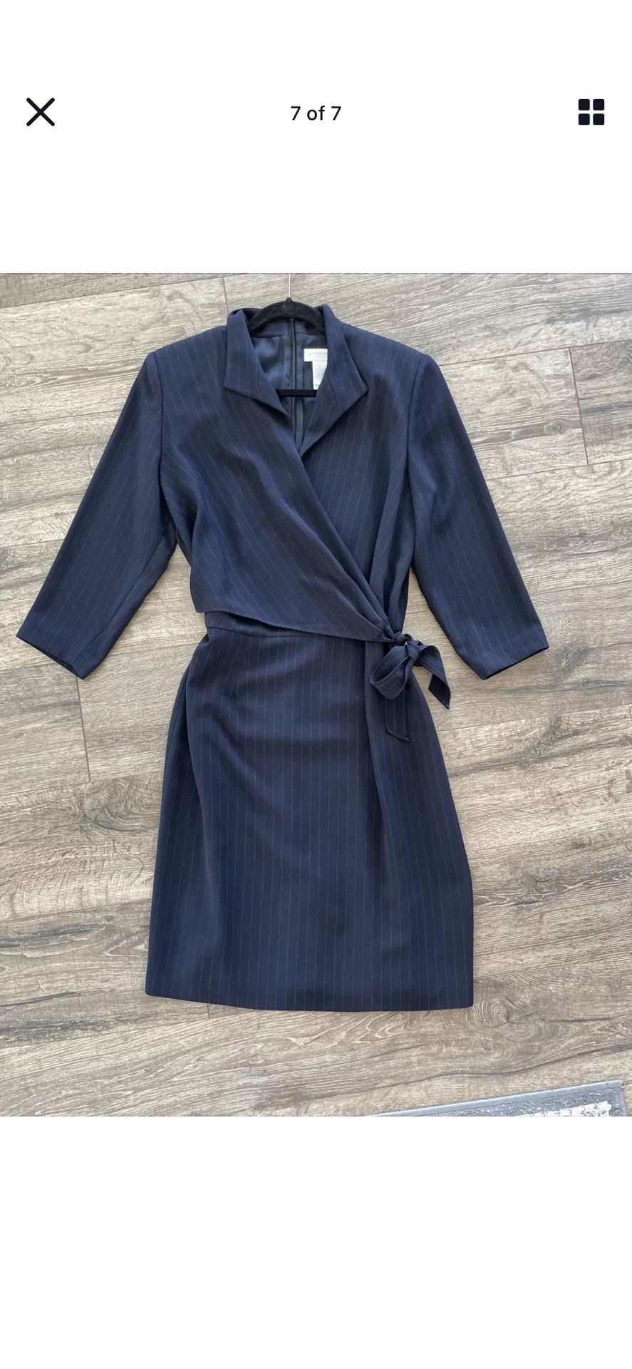 Liz Claiborne Wrap Dress: Navy Blue with Metallic Striping and Side Tie Size 12