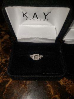 Wedding Set Kay Jewlers (with life time warrenty On Diamonds) Thumbnail