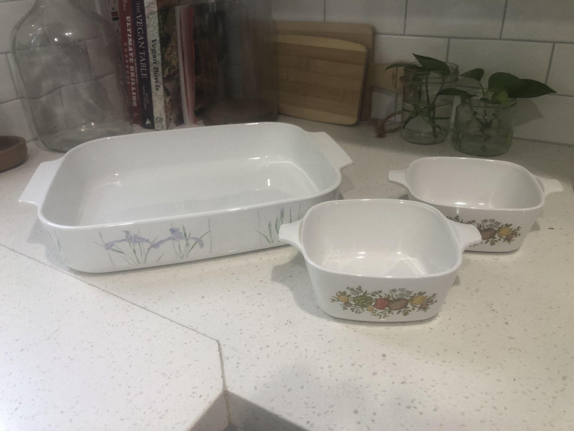 Vintage Corningware Cooking Dishes