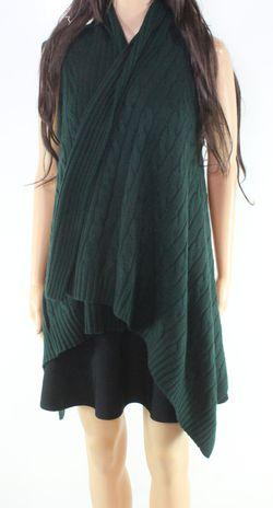 Lauren By Ralph Lauren Women's Vest Green Size XL Cable-Knit Ribbed Thumbnail