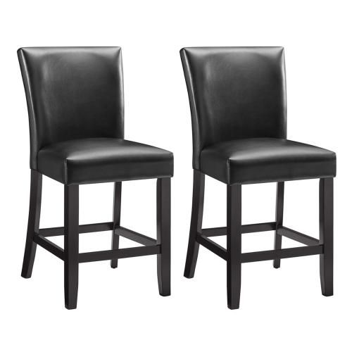 25'' Bar Stools Set of 2 Counter Height PU Leather Bar Chairs Dining Furniture