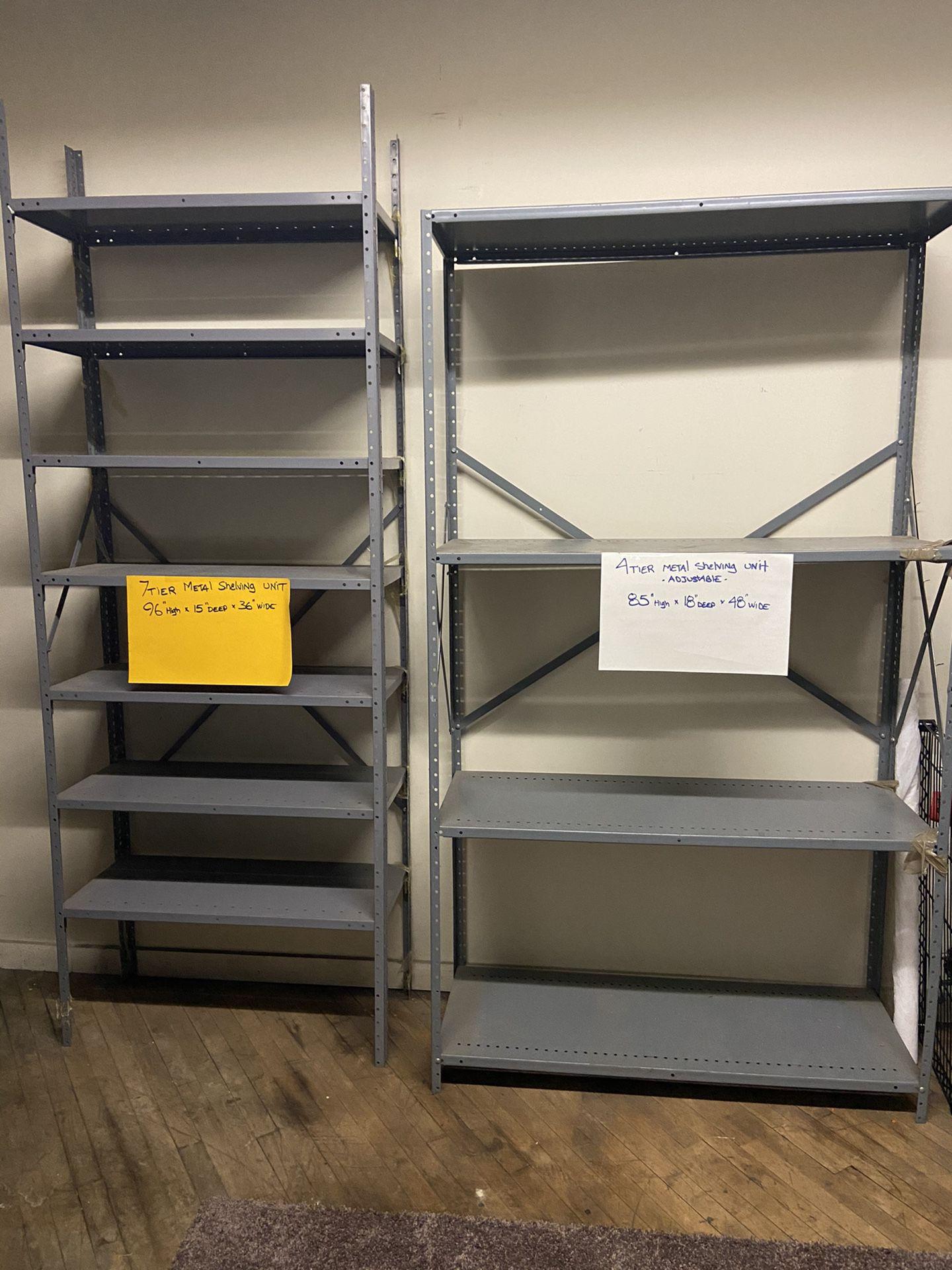 Various metal shelving units