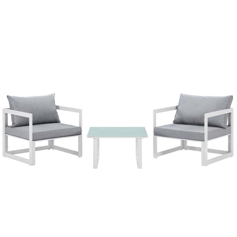 White Gray Fortuna 3 Piece Outdoor Patio Sectional Sofa Set