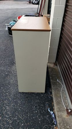 Sandusky Metal Office Supply Cabinet with Shelves and wood laminate top Thumbnail