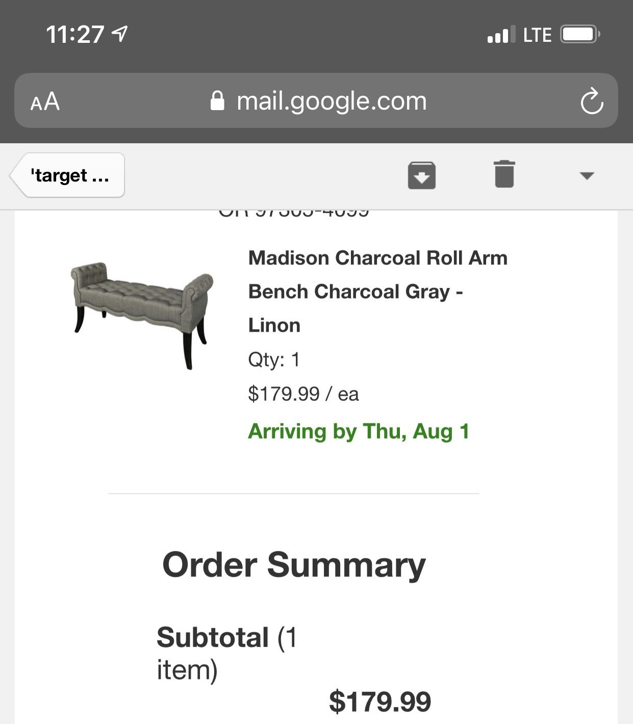 Charcoal Roll Arm Bench in Charcoal Grey