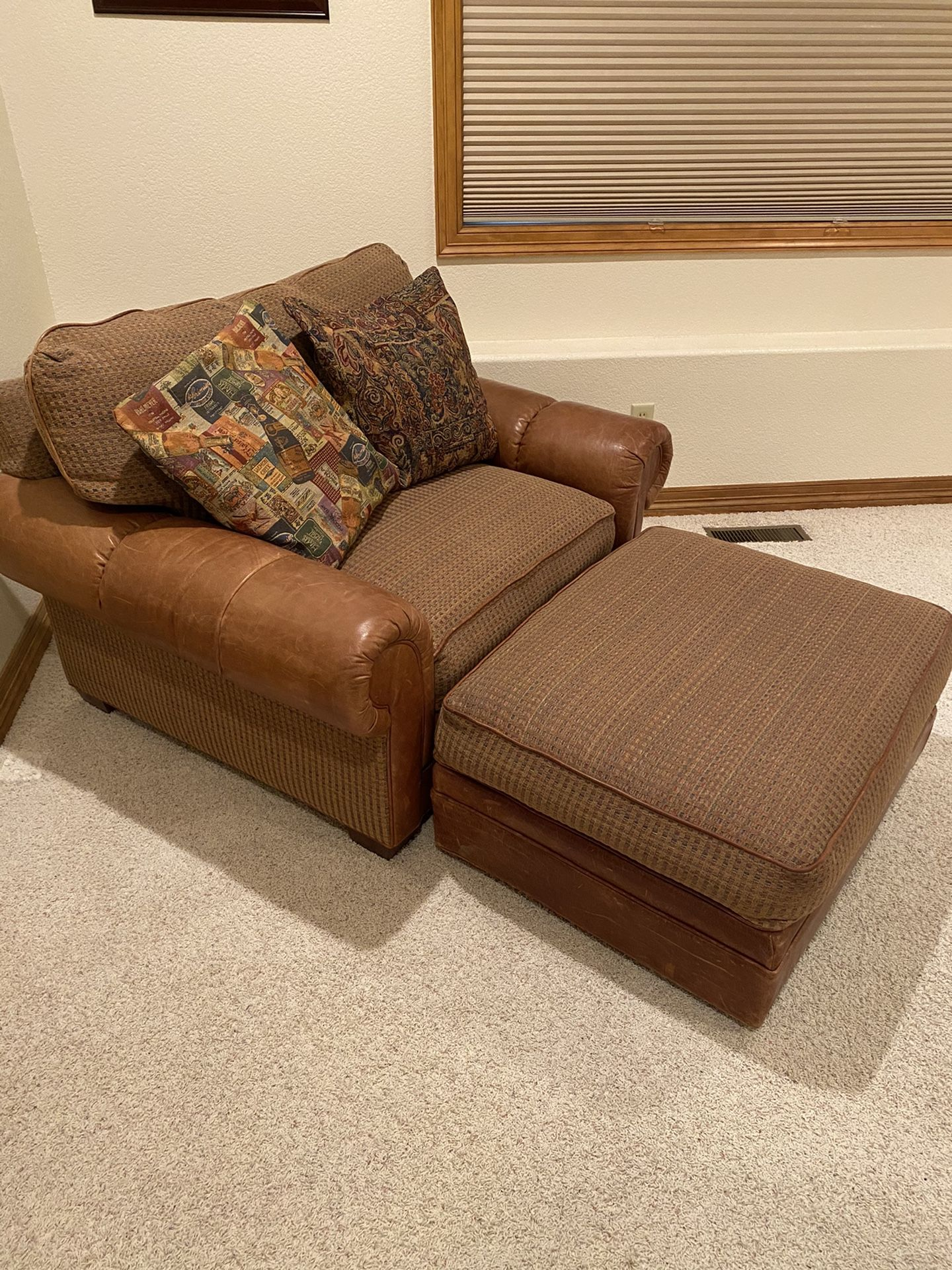 Oversized Leather Chair with Ottoman