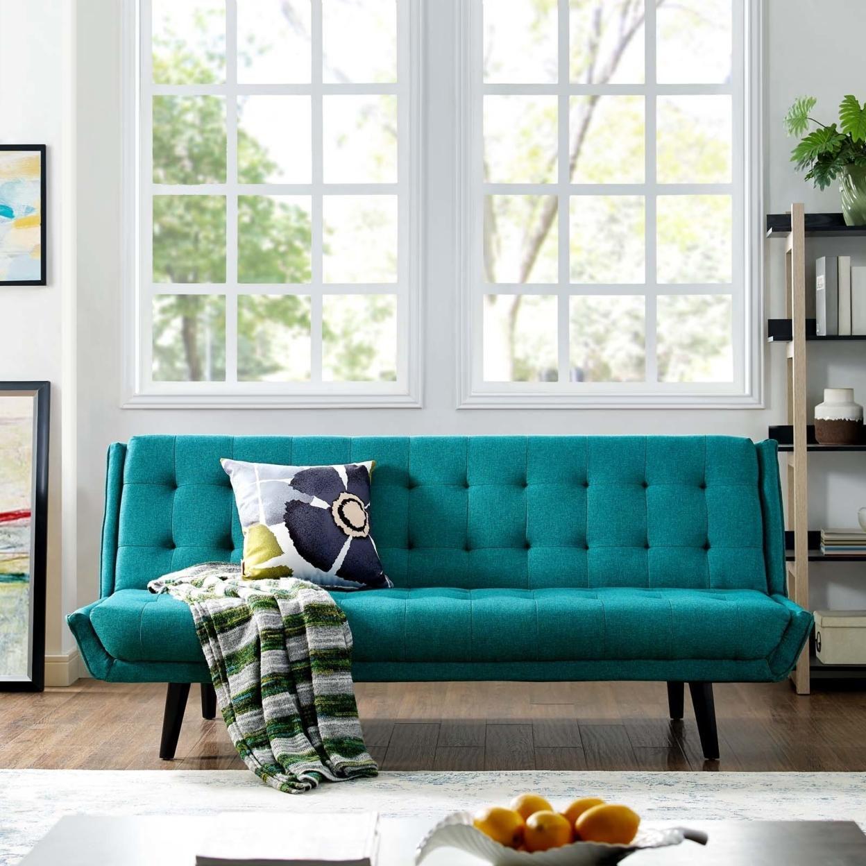 Glance Tufted Convertible Fabric Sofa Bed (3093-TEA)