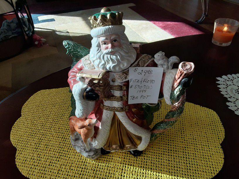 VINTAGE Fitz And Floyd Santa  Tea Pot  1995