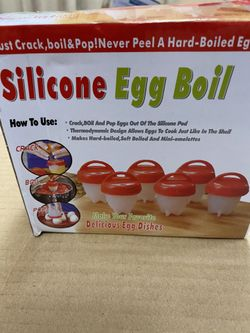 Egg silicone Cooker -boil Egg Poachers -Hard Boiled Eggs without the Shell Hard & Soft Maker, Use Oil, Non Stick Silicone, Boiled, Steamer,JUST AS SE Thumbnail