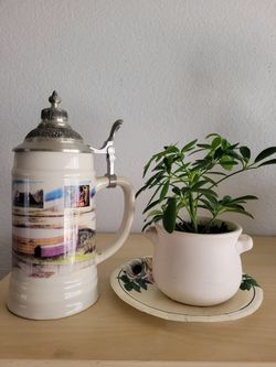 BRAND NEW...German Beer Stein With Pewter Lid. Packaged In Storage For Staging Furniature.  Thumbnail