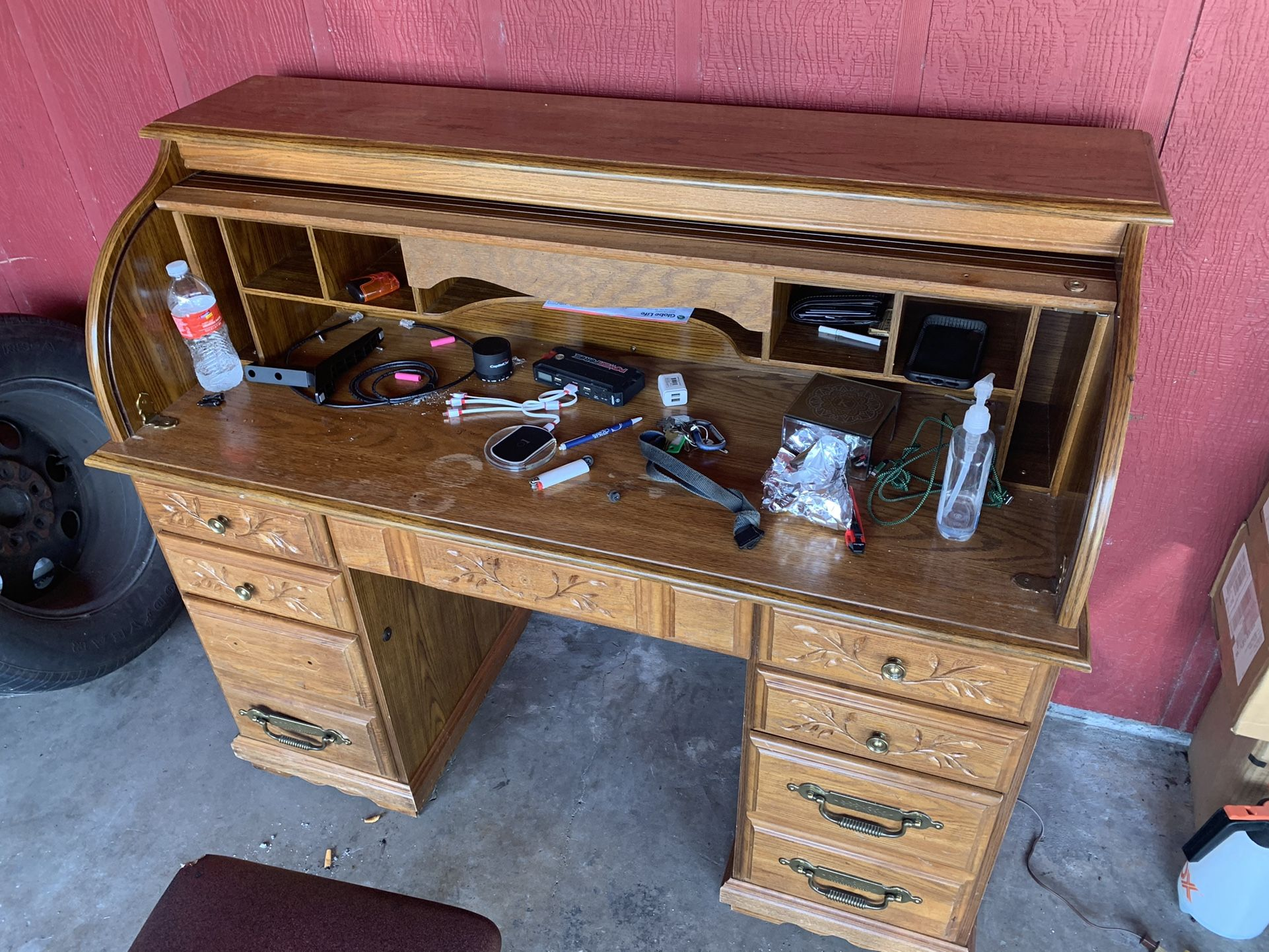 Solid Wood Computer Desk With Working Lamp