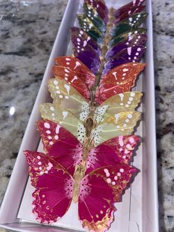 Feather Multi Color Butterflies Pack Of 12 Thumbnail