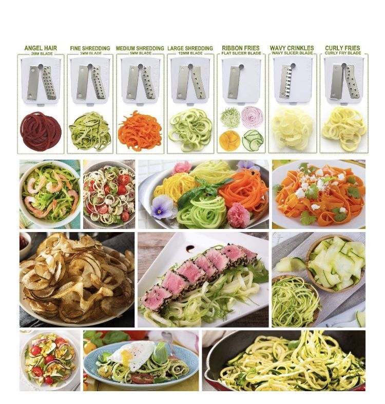 Brieftons 7-Blade Vegetable Spiralizer Strongest-and-Heaviest Duty Vegetable Spiral Slicer, Best Veggie Pasta Spaghetti Maker for Low Carb/Paleo/Glut