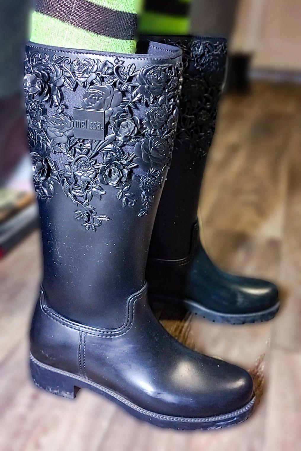 Melissa Black Rubber Rain boots Size 10.