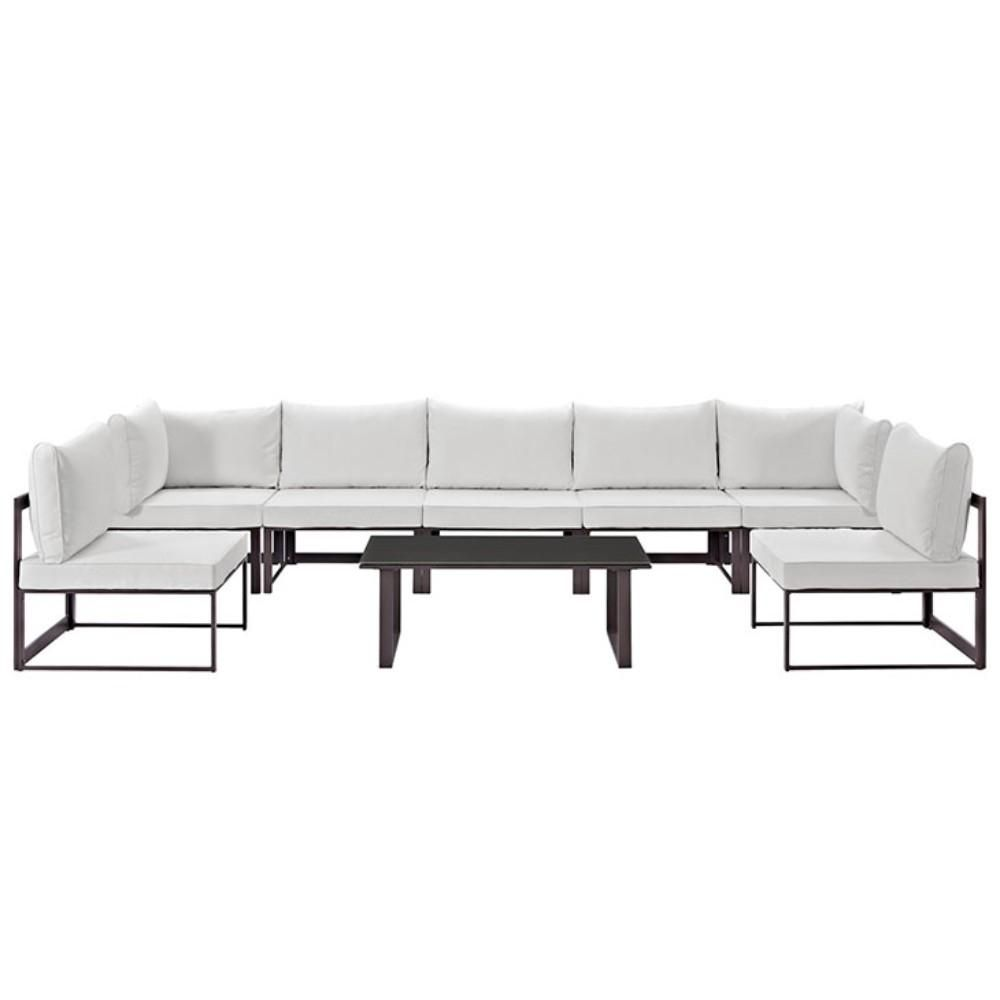 Fortuna 8 Piece Outdoor Patio Sectional Sofa Set, Brown & White