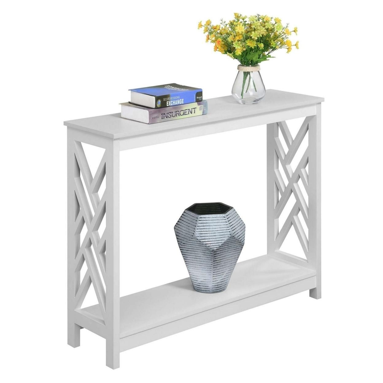 Titan Console Table with Shelf, White
