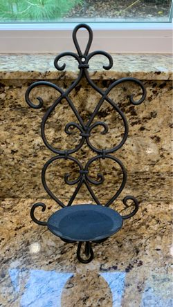 Black iron, candle holder wall sconce Thumbnail
