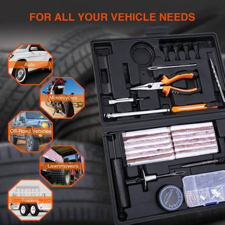 Tire Repair Kit, 100 Pcs Heavy Duty Tire Plug Kit for Car, Universal Tire Patch kit to Fix Punctures and Plug Flats, tire Repair Plug