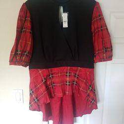 New York And Company Black/Red Tartan Plaid Hi-Lo Handkerchief Hem Shirt Thumbnail