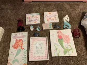 Mermaid decor and comforter set with sheets and two curtain sets. Thumbnail