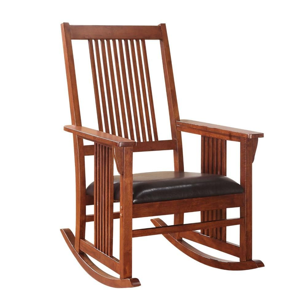 Saltoro Sherpi Mission Style Rocking Chair with Leatherette Padded Seat, Brown and Black