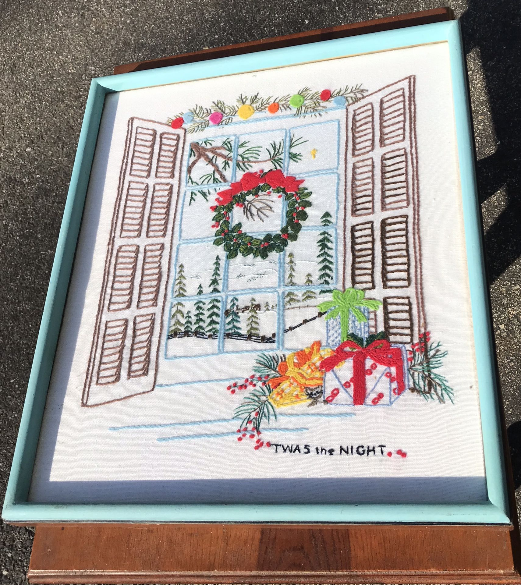 Framed Vintage Christmas Needlepoint 17 x 20 1/4